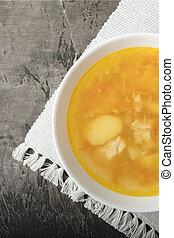 soupe, bouillon, bol, sombre, arrière-plan., délicieux, poulet