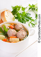 soupe, boulette viande, bol, blanc