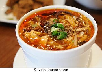 soupe, chaud, aigre