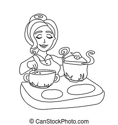 soupe, cuisine, femme foyer