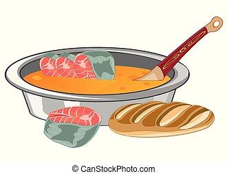 soupe, isolé, fish, fond blanc