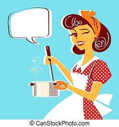 soupe, jeune, portrait, cuisine, femme foyer