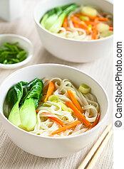 soupe, légumes, nouille, asiatique, riz