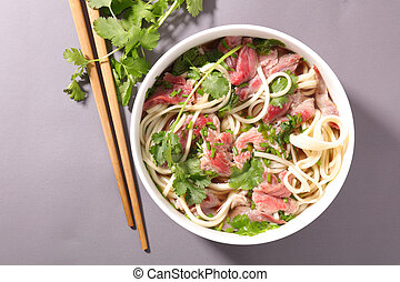soupe, nouilles, boeuf, chinois