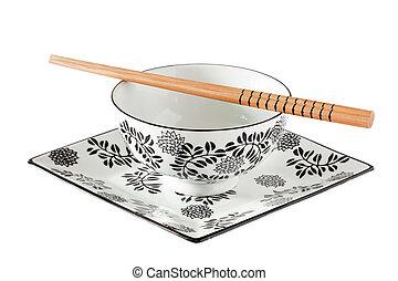 soupe, -, plaques, baguettes, vaisselle, asiatique, bol