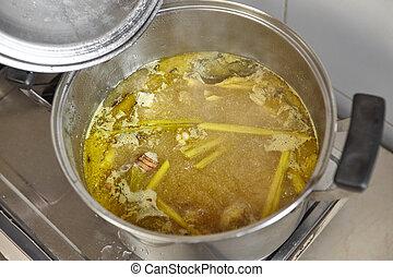 soupe, poulet, stockage