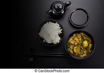 soupe, sur, sushi, sombre, arrière-plan., asiatique, riz