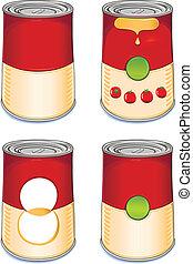 soupe tomate, boîte en fer-blanc, gabarit