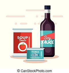 soupe tomate, boîte, soja, thon, sauce