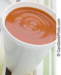 soupe tomate, polystyrène, tasse