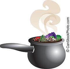 soupe, trapu, pot