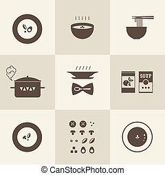 soupe, vecteur, icône
