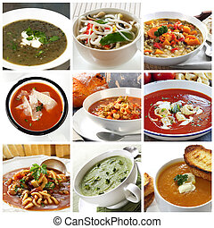 Soups Collage - Collage of different soups. Includes lentil,...