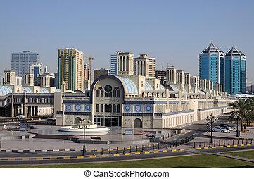 souq, unido, central, ciudad, árabe, emiratos, sharjah