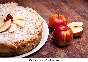 """International Cuisine - Desserts - Cake with """"ricotta"""" cheese and sour apples."""