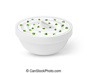 Sour cream with onion in a bowl isolated on white background