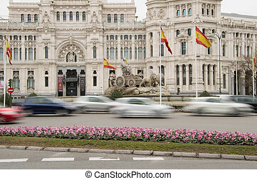 Source Cibeles Madrid Spain in tne morning with moving cars
