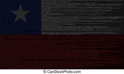 Source code and flag of Chile. Chilean digital technology or...