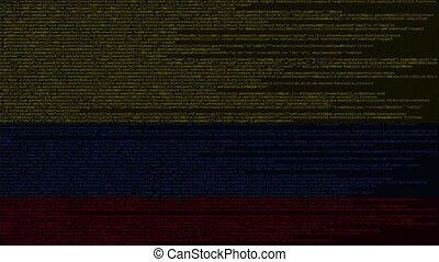 Source code and flag. Programming or digital technology related motion background