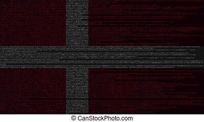 Source code and flag of Denmark. Danish digital technology...
