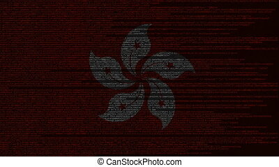 Source code and flag of Honk Kong. Digital technology or...