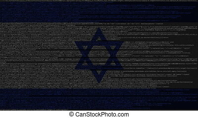 Source code and flag of Israel. Israeli digital technology...
