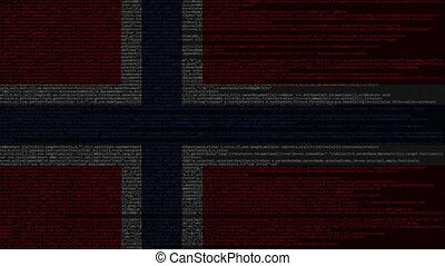 Source code and flag of Norway. Norwegian digital technology...