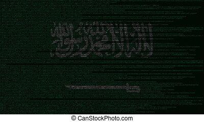 Source code and flag of Saudi Arabia. Digital technology or...