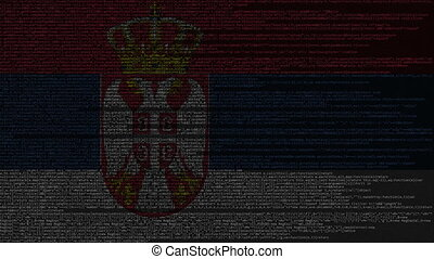 Source code and flag of Serbia. Serbian digital technology...