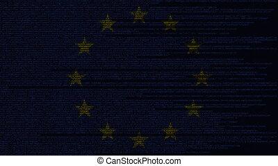 Source code and flag of the EU. European Union digital...