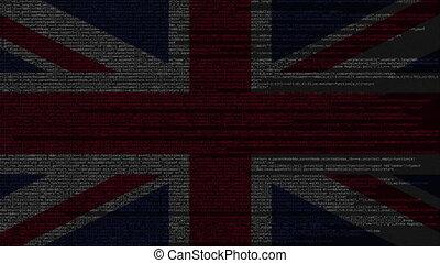 Source code and flag of the United Kingdom. British digital...