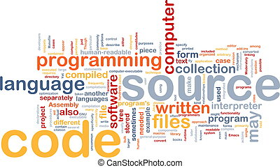 Background concept wordcloud illustration of source code programming