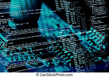 Source Code - Computer programing source code on blue...