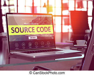 Source Code Concept on Laptop Screen.