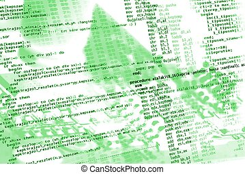 Source Code - Sourcecode on electronics background in green