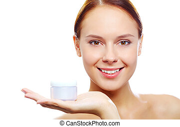 Source of skin nutrition - Fresh woman holding container ...