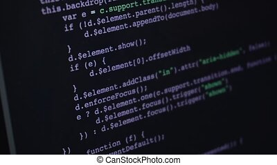 Source programming code or html moving over screen with...