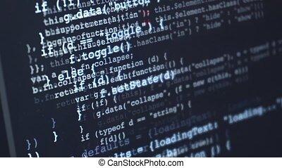 source, sur, code, en mouvement, écran