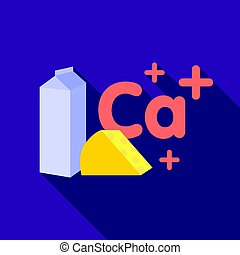 Sources of Calcium icon in flat style isolated on white background.