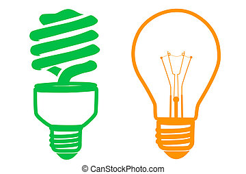sources of power - illustration of cfl and electric bulb on...