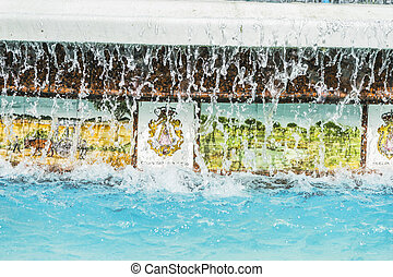 sources with large water jets summer in Marbella, Andalucia Spain