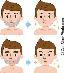 sourcils, après, déménagement, cheveux, barbe, avant