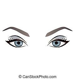 sourcils, yeux, réaliste, vecteur, femme, dessin animé