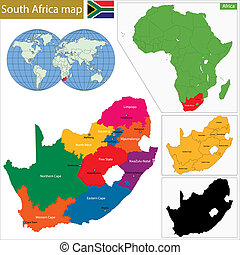 South Africa map with the provinces and the main cities