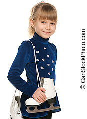 souriant petite fille, patins