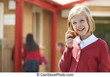sourire, école, appareil photo, whil, enfant