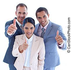 sourire, équipe, haut, business, pouces