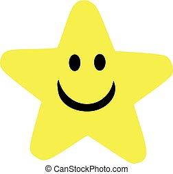 sourire, étoile, dessin animé, type caractère jaune