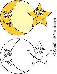 sourire, étoile, lune