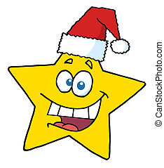 sourire, étoile, noël, heureux